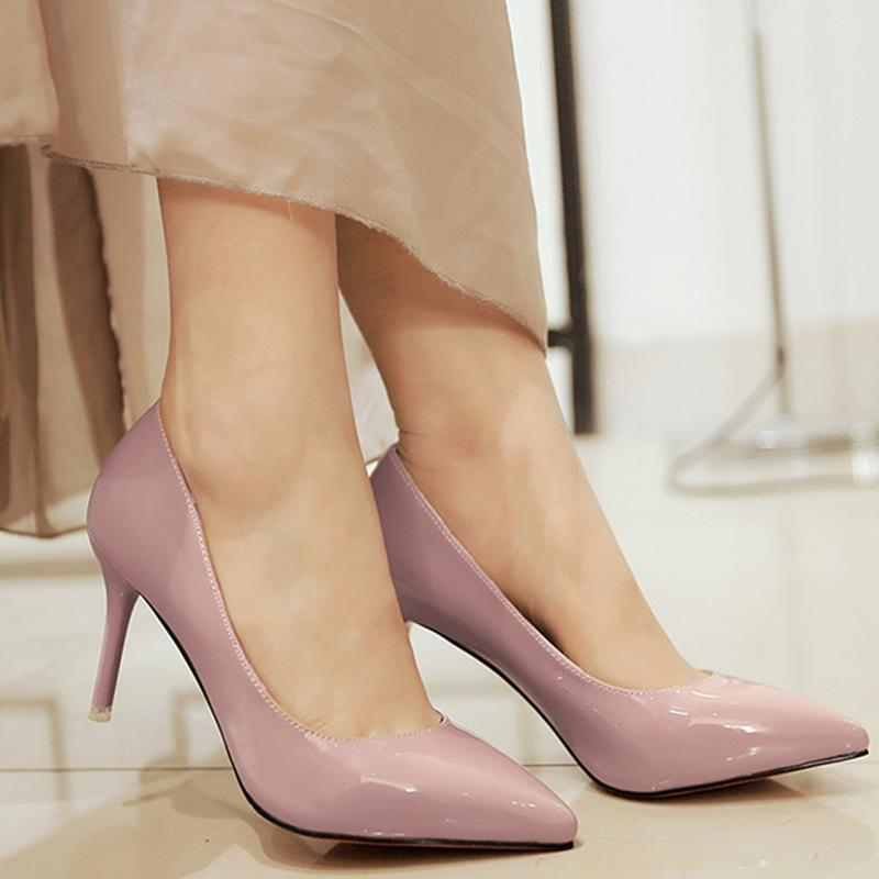 Office Lady Faux Leather Shallow Pink Heels For Women - fashionshoeshouse