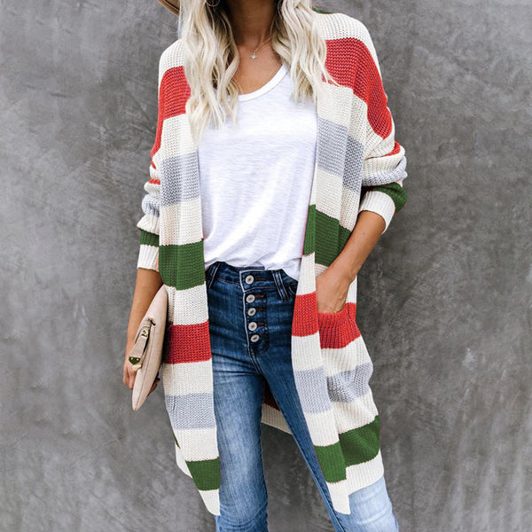 Women's color striped knitted cardigan open front long cardigan with pockets