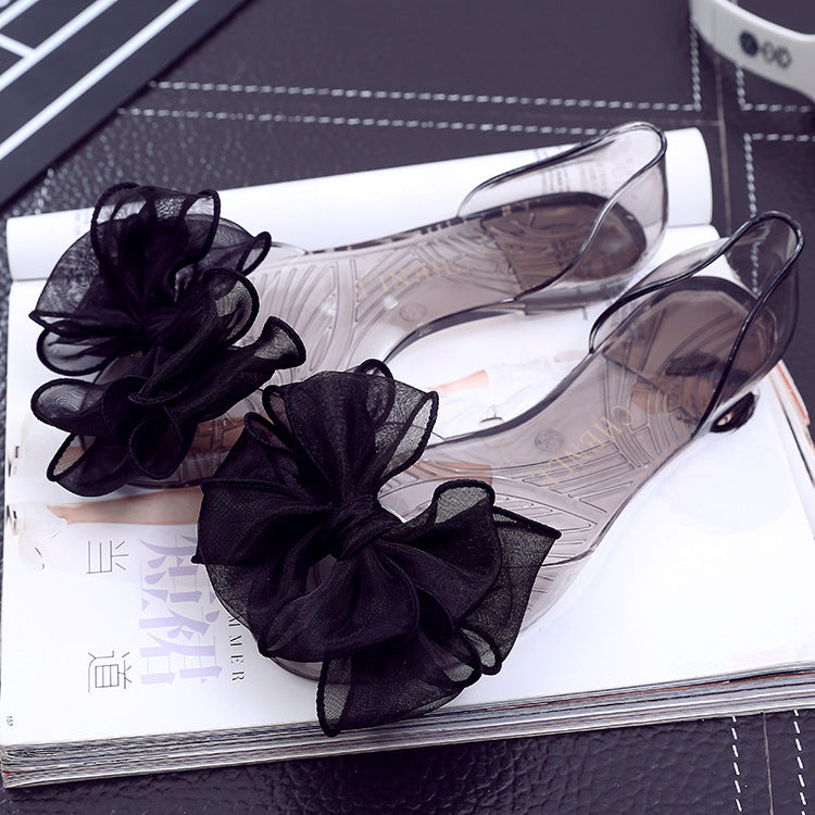 Women Slip On Bow Clear Jelly Sandals