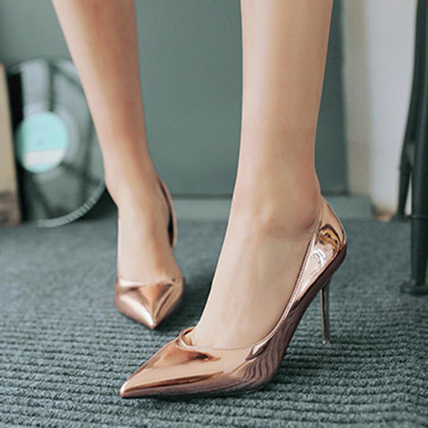 2 3/4 Inch Height Metal Color Champagne Heels For Women - fashionshoeshouse
