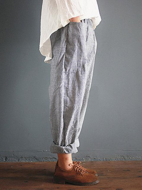 Linen Gray Striped Pants Women - fashionshoeshouse