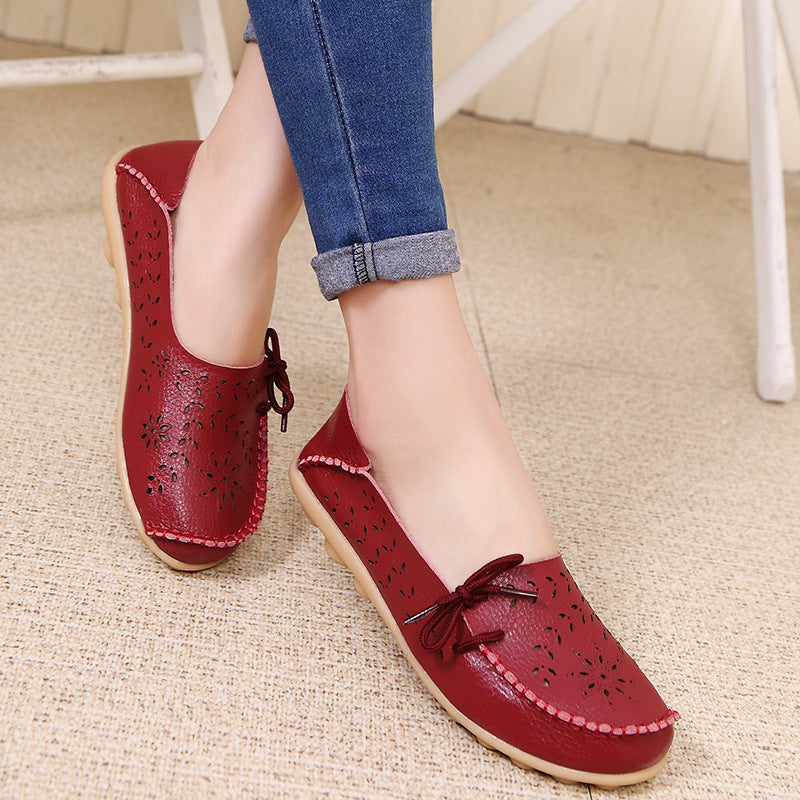 Women Large Size Breathable Hollow Out Flat Soft Shoes - fashionshoeshouse