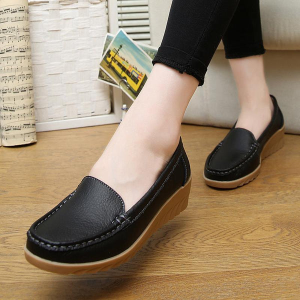 Non-slip Beef Tendon Leather Moccasins Soft Loafers for Women - fashionshoeshouse