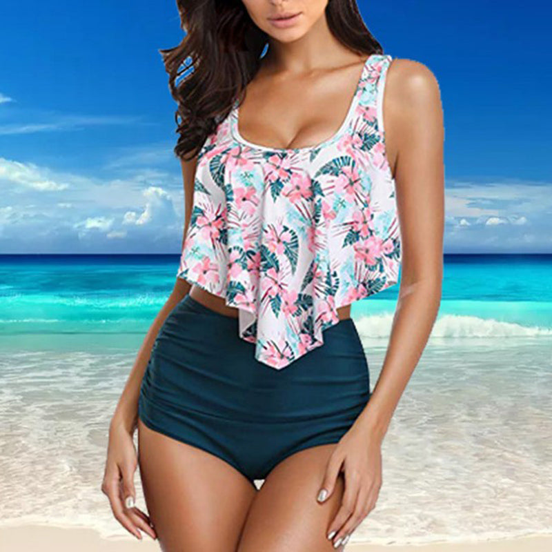 Women Leaves & Flowers High Waisted Two Piece Swimsuits - fashionshoeshouse
