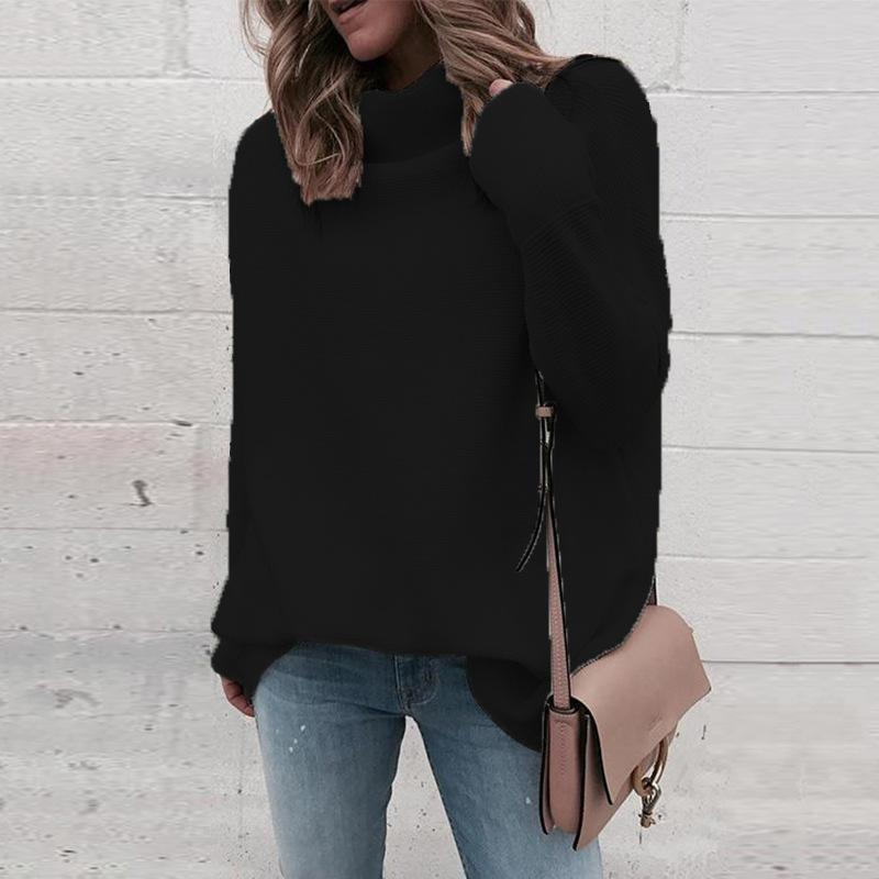 Women Solid Knit Loose Turtleneck Sweater - fashionshoeshouse