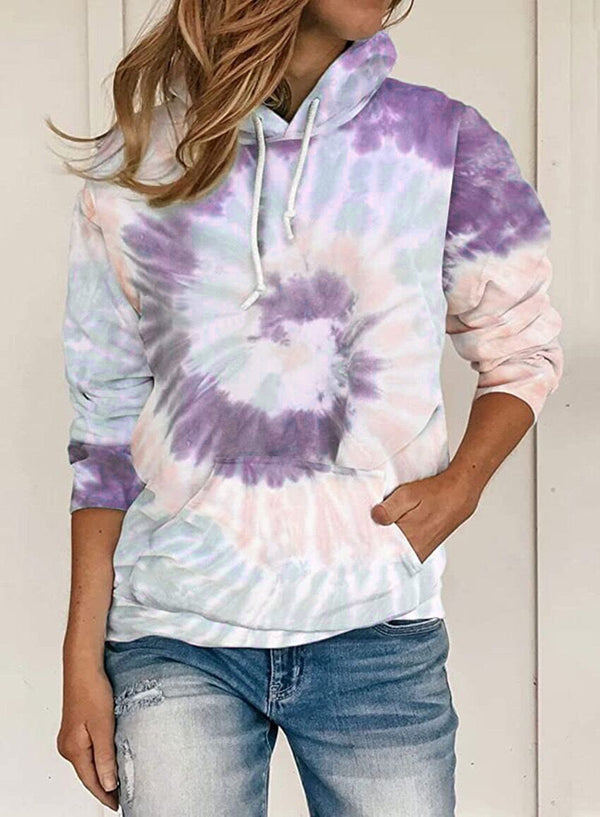 Women's fashion tie dye hoodie drawstring hooded sweatshirt with pockets