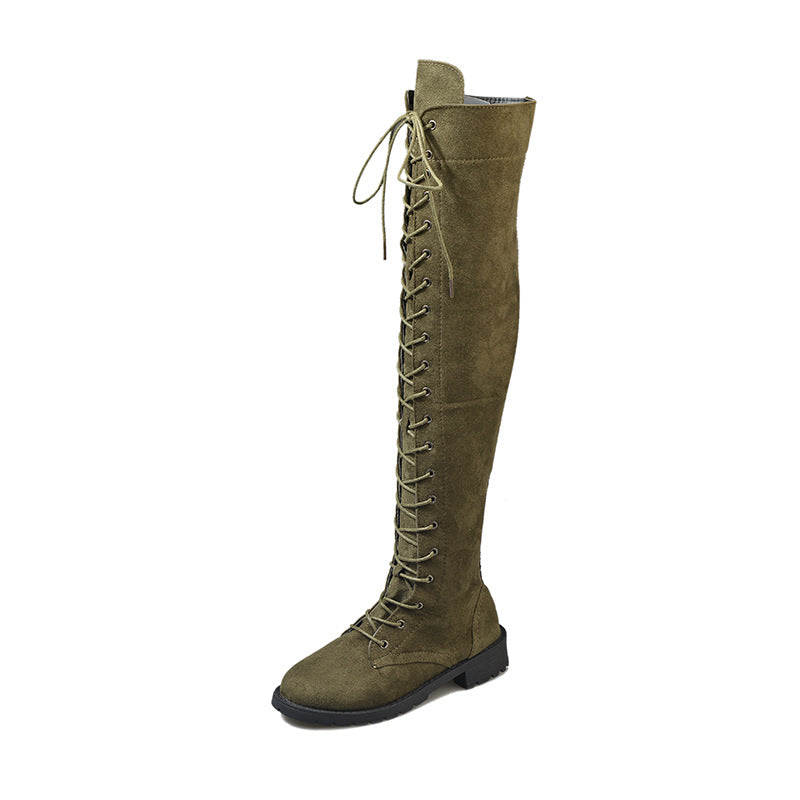 Winter Lace Up Boots for Women Over The Knee Zipper Boots