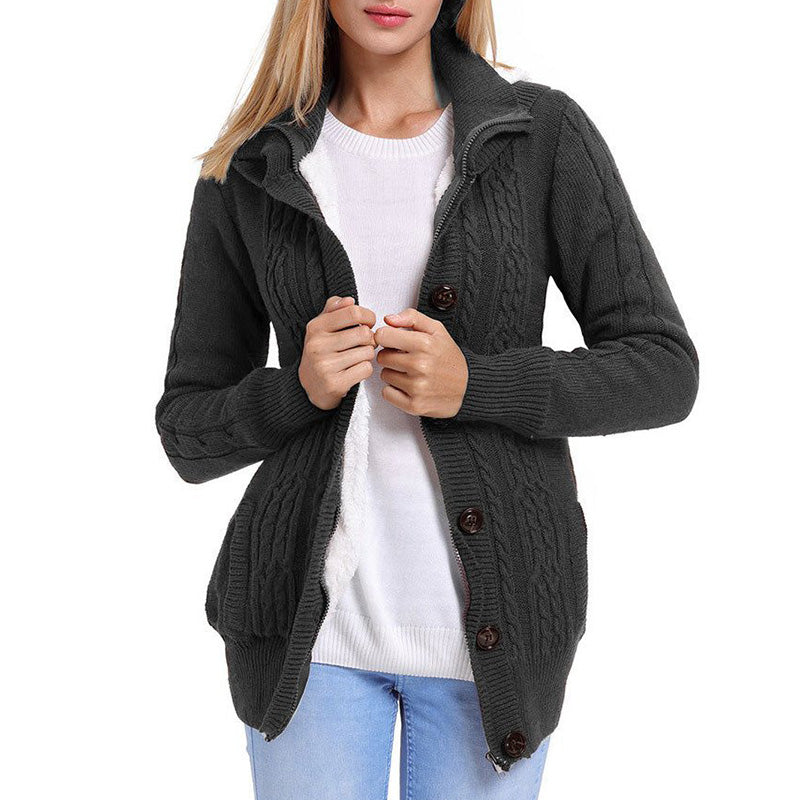 Women's button up knitted cardigan hooded winter coat