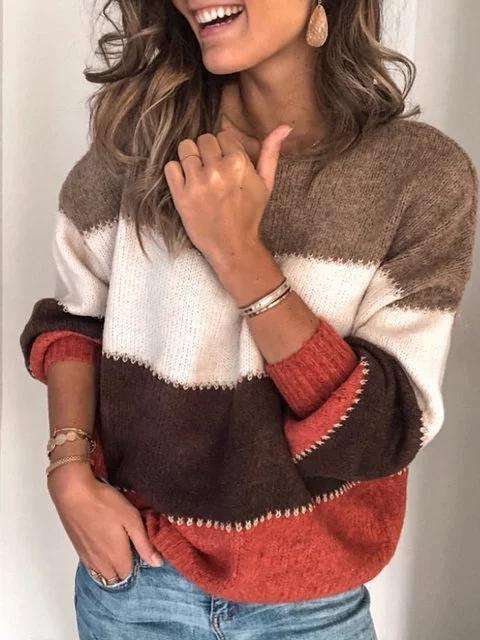 Women Pullovers Striped Shift Fall Winter Casual Color Block Sweater - fashionshoeshouse
