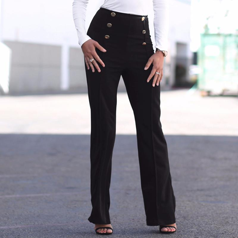 Fashion Slim Button High Waist Women Flare Pants - fashionshoeshouse