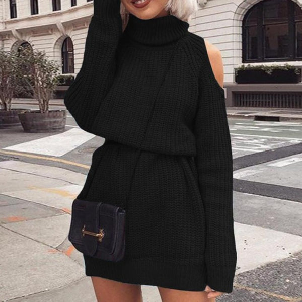 Women Turtleneck Off Shoulder Dressy Sweaters - fashionshoeshouse