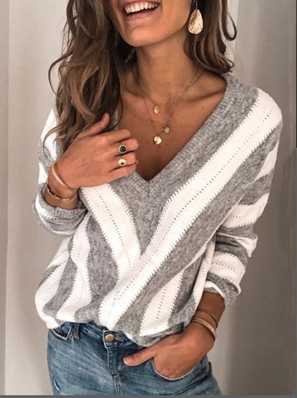 V Neck Striped Pullover Sweaters For Women - fashionshoeshouse