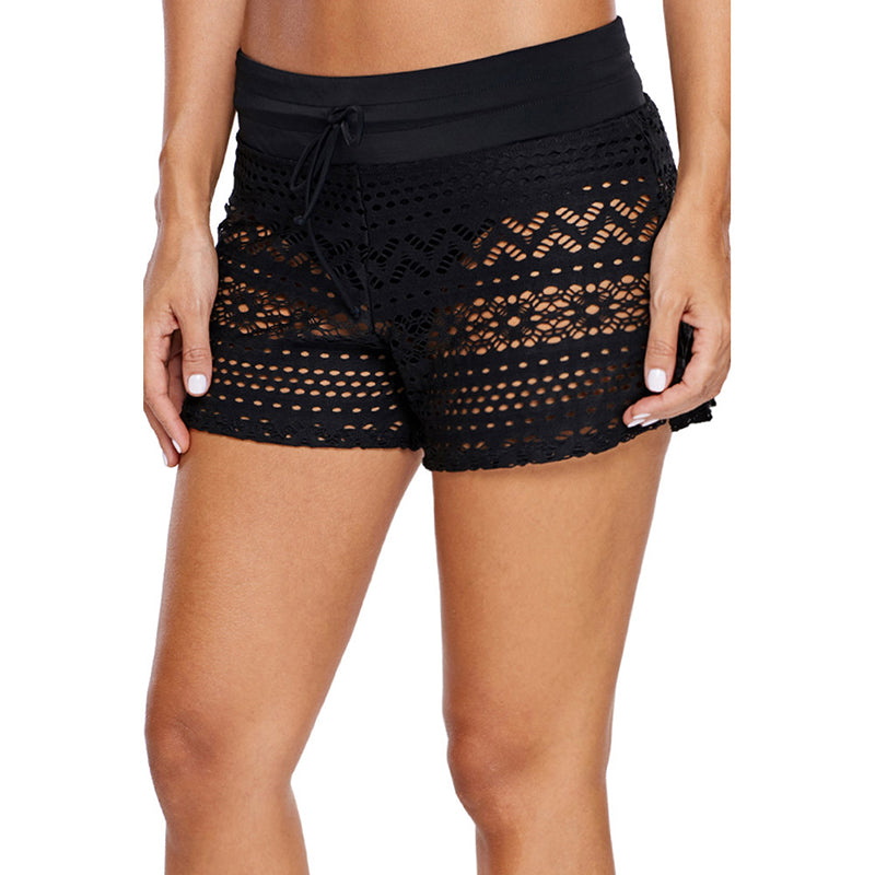 Black Lace Spa Pure Color Swimming Trunks - fashionshoeshouse