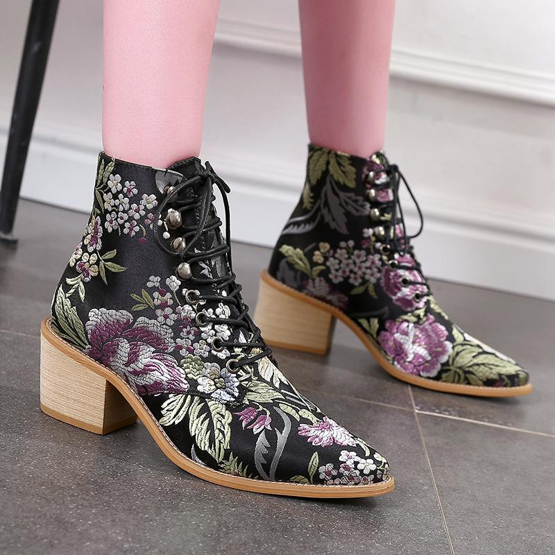 Women Embroidery Chunky Lace Up Heeled Boots - fashionshoeshouse