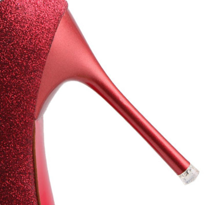 2 3/4 Inch Height Shining Pointed Toe Red heels For Women - fashionshoeshouse