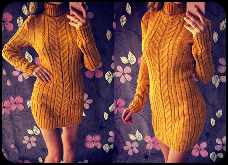 Women Dress Turtleneck Slim Yellow Sweater - fashionshoeshouse