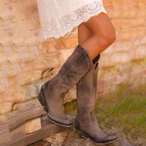 Retro Bohemia Women Boots Autumn Winter Medium Heel Cowgirl Boots - fashionshoeshouse