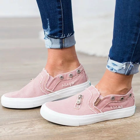 Women Slip On Flat Shoes Canvas Sneakers - fashionshoeshouse