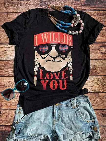 Vintage Short Sleeve Statement Letter Printed Plus Size Casual Tops - fashionshoeshouse