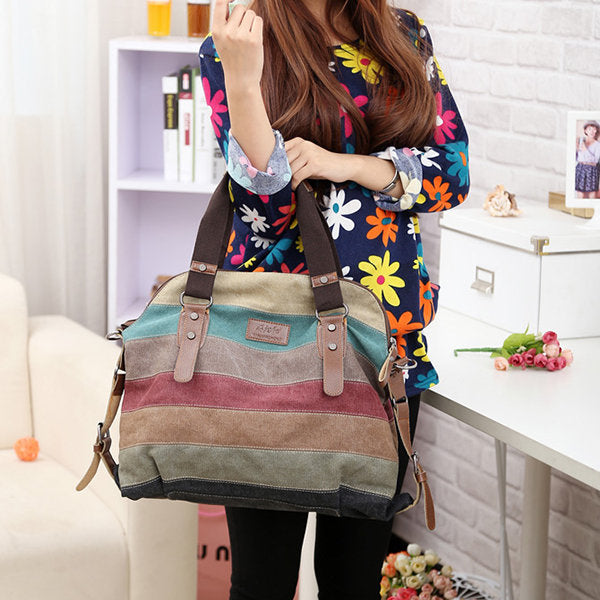Women Casual Stripe Canvas Contrast Color Handbag Multi-pocket Shoulder Bag - fashionshoeshouse