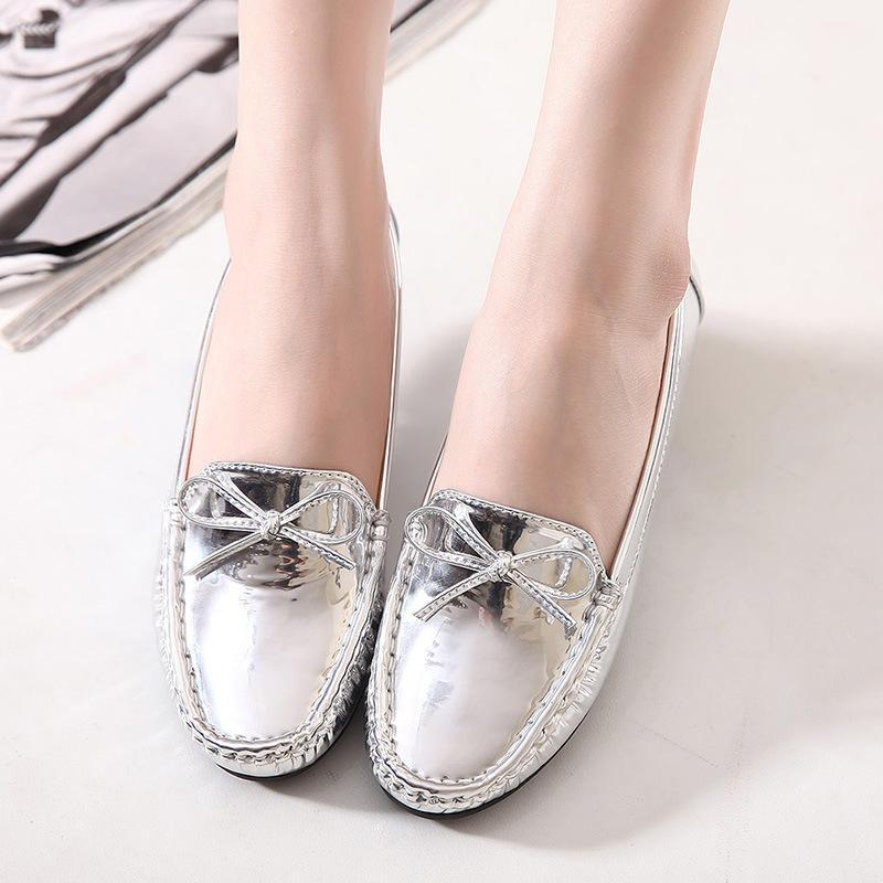 Women Metallic Loafers Champagne Pure Color Casual Driving Flats Spring Autumn - fashionshoeshouse