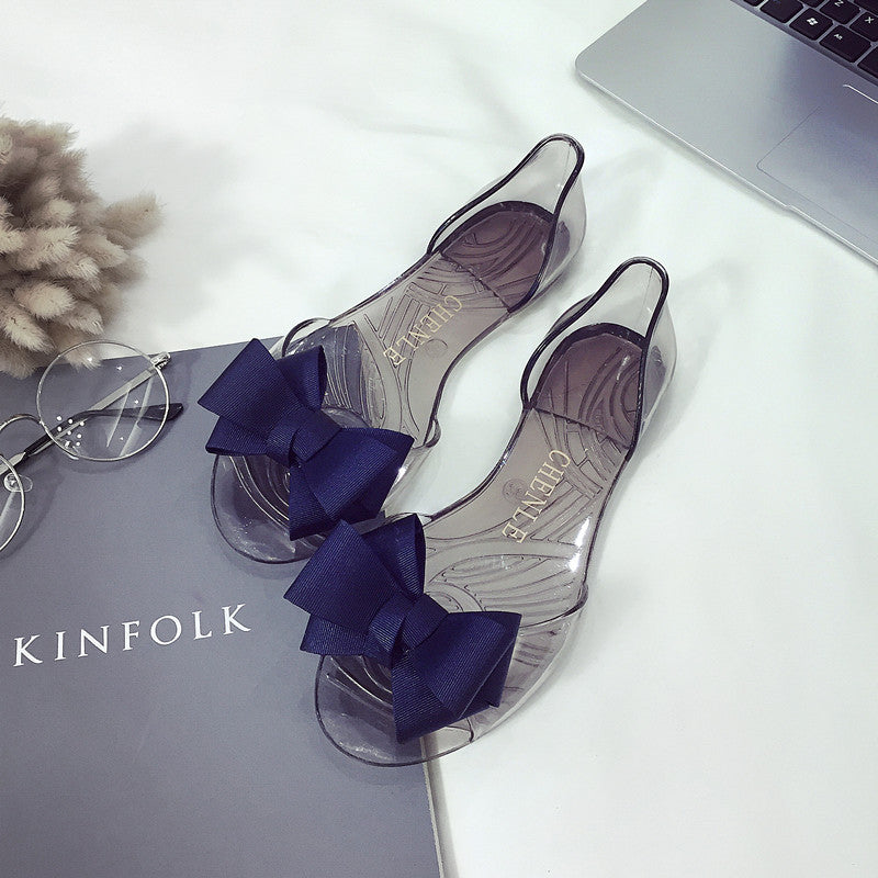 Women Summer Slide Bow Clear Jelly Sandals