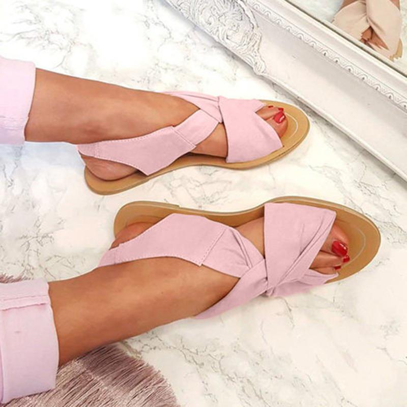 Women Summer Strap Peep Toe Flat  Beach Sandals - fashionshoeshouse