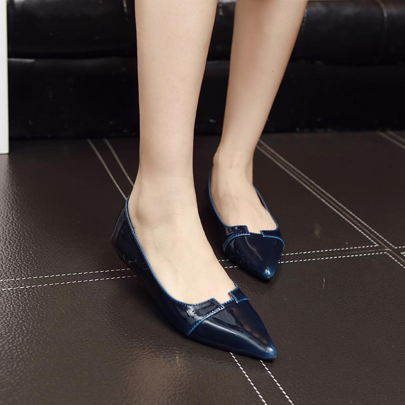 Patent Leather Concise Breathable Flat Shoes For Women - fashionshoeshouse