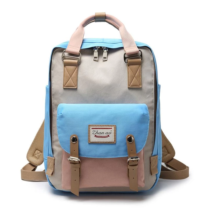Women Canvas Casual Patchwork Backpack - fashionshoeshouse