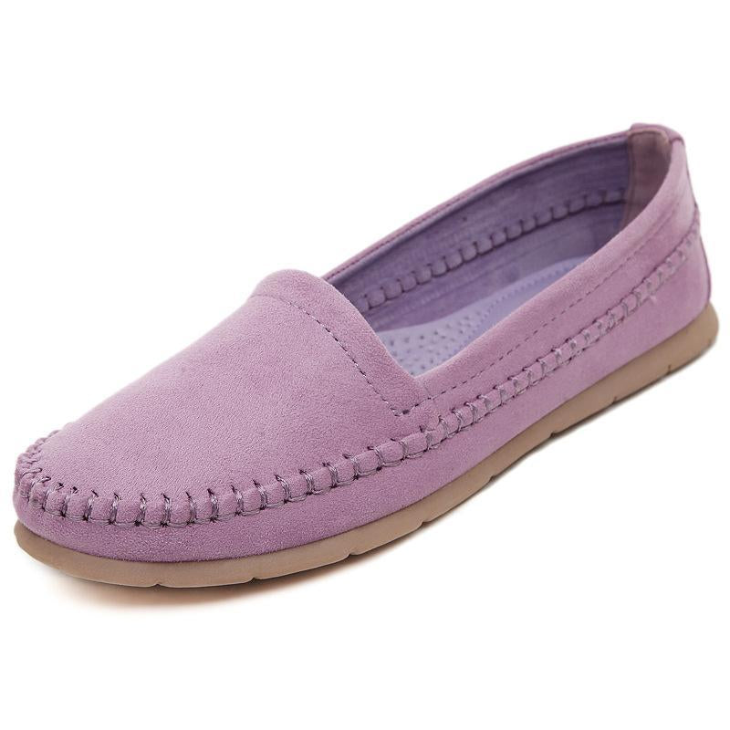 Non-slip Suede Pink Loafers for Women Lightweight Flat Shoes - fashionshoeshouse