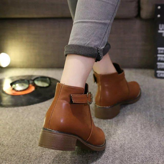 Woman Fashion Platform Round Toe Buckle Strap Ankle Martin Boots - fashionshoeshouse