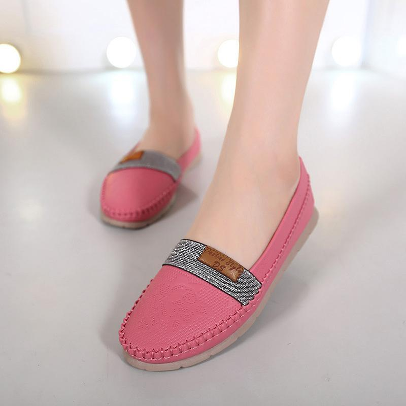 Flowers Print New Arrival Round Toe Pink Flat Shoes For Women - fashionshoeshouse
