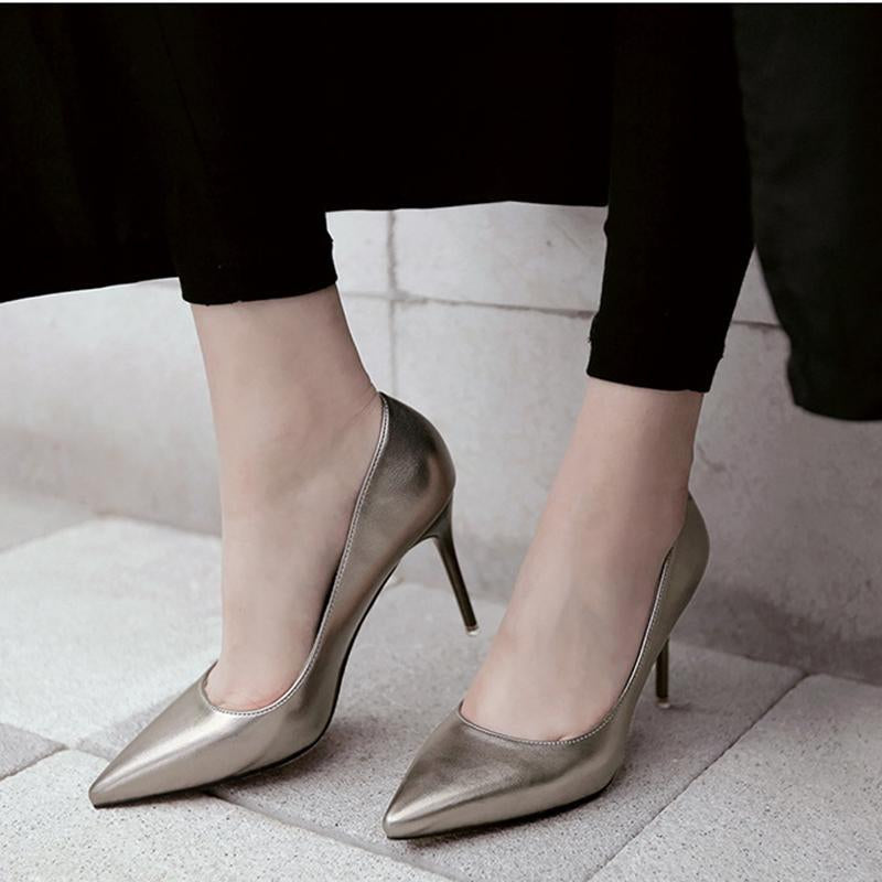 265020a5a30 3 1 2 Inch Height Spring Shining Pointed Toe Gold Heels For Women -  fashionshoeshouse