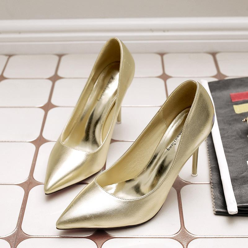 3 1/2 Inch Height Spring Shining Pointed Toe Gold Heels For Women - fashionshoeshouse
