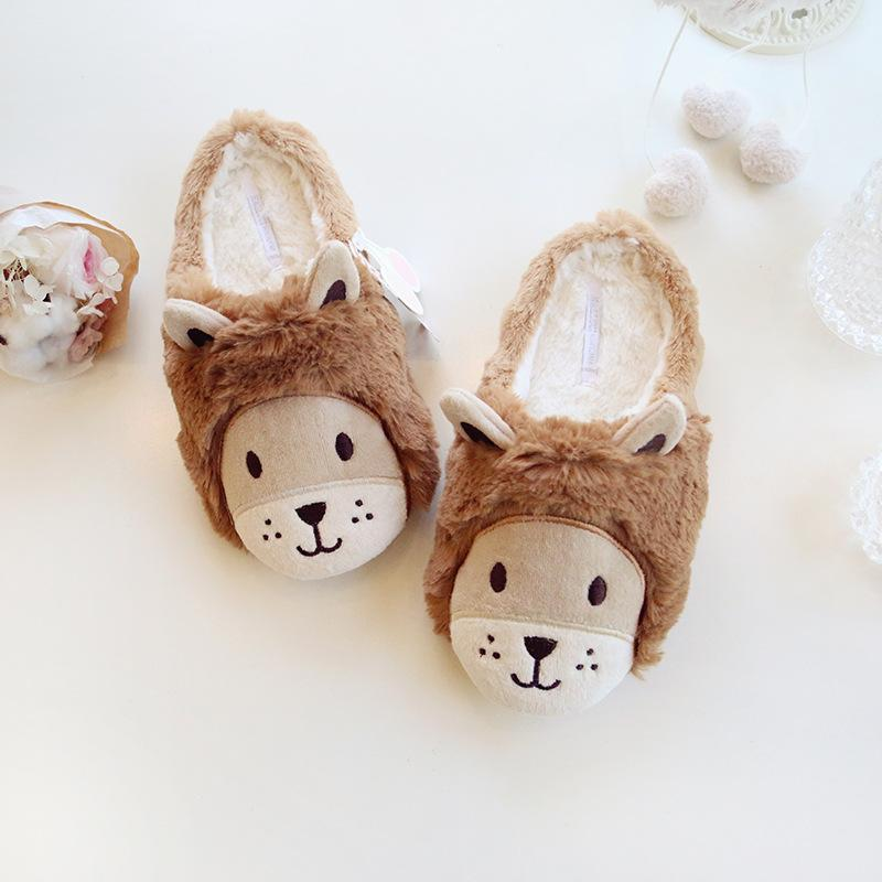 Cute Lion Fur Lining Double Ear House Slippers For Women - fashionshoeshouse