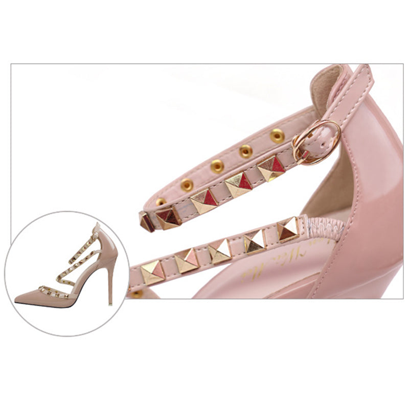 Women Pointed Toe Strappy Hollow Studded Heel Sandals