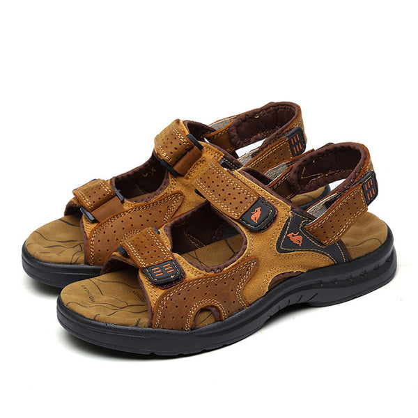 Men Casual Leather Suede Buckle Hiking Sandals - fashionshoeshouse