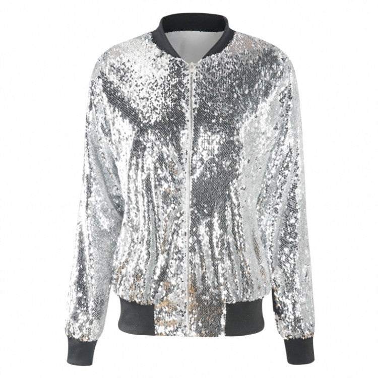 Women's fashion sequins zipper jacket coat bomber jacket for fall/winter