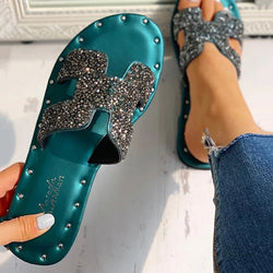 Women Sparkling Slipper Bling Glitter Beach Flat Heel Slide Sandals - fashionshoeshouse