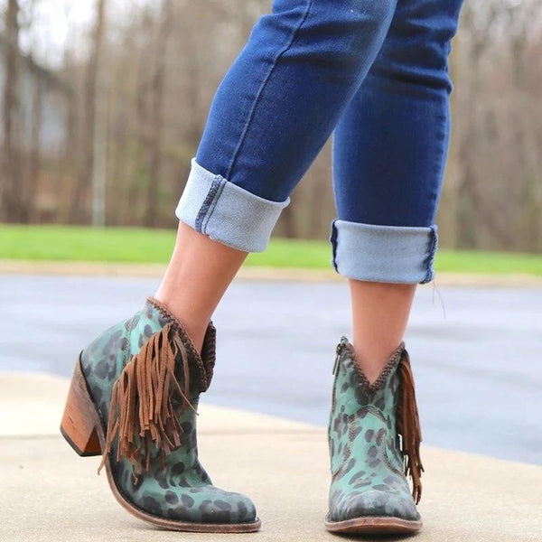 Women Leopard Short Boots Chunky Round Toe Tassel Boots - fashionshoeshouse