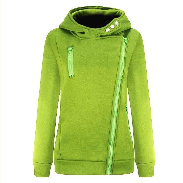 Zipper Solid Color Casual Hoodie - fashionshoeshouse