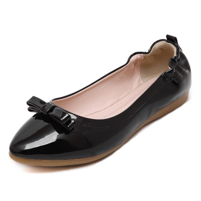 Bowknot Patent Leather Microfiber Driving Flat Shoes For Women - fashionshoeshouse