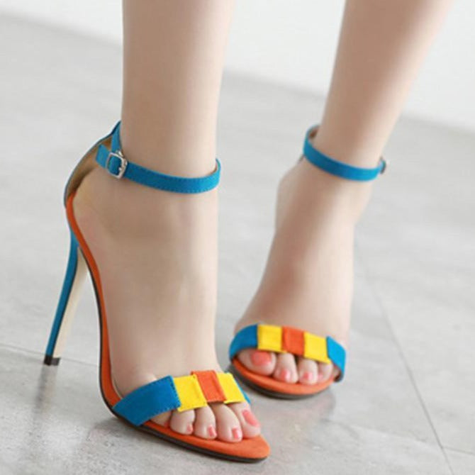 Sexy Color Stitching Suede Leather Blue Women Sandals - fashionshoeshouse
