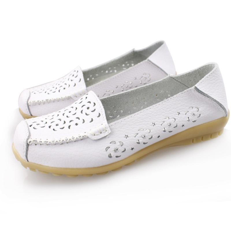 Hollow Out Breathable Non-Slip Pure Color Flat Shoes For Women