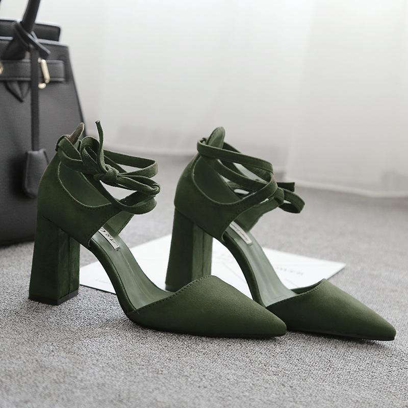Strappy Sandals Fashion Green Suede Lace Up Women Sandals - fashionshoeshouse