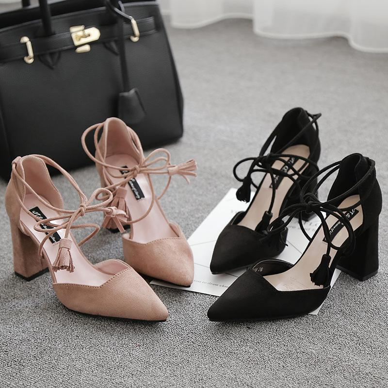 Tassels Ankle Lace Up Sandals Chunky Pink Women Sandals - fashionshoeshouse