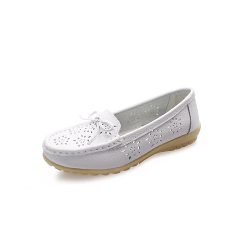 Hollow out breathable white flat shoes for women - fashionshoeshouse