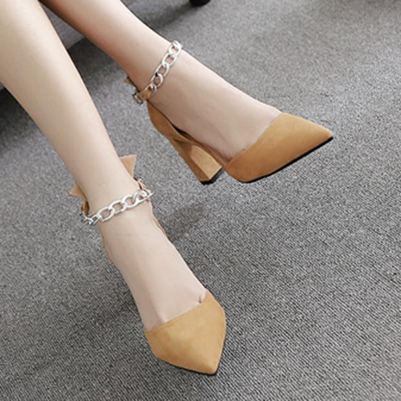 Chain Decorated Thick Heel Shallow Black Women Sandals - fashionshoeshouse
