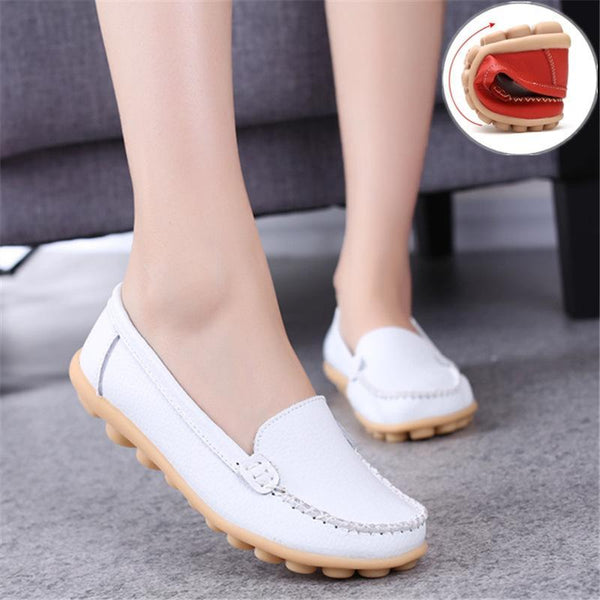 Leather Moccasins Loafers for Women Comfort Non-slip Driving Shoes - fashionshoeshouse