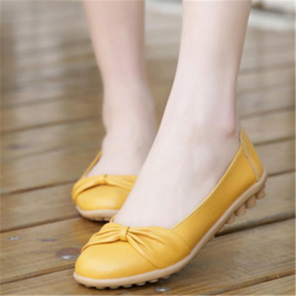 Bowknot Yellow Flats Non-Slip Flat Shoes For Women - fashionshoeshouse